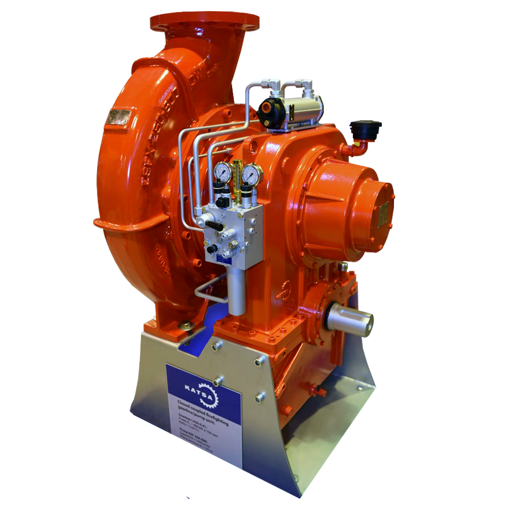 Special gearbox with hydraulic coupling and FiFi pump from Katsa